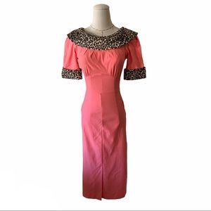 NWT Stop Staring Blondi Leopard Pink Wiggle Dress